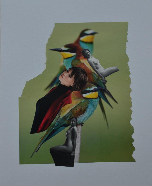 vrouw, vogel, naakt